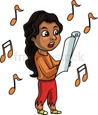 Black girl singing. PNG - JPG and vector EPS. Isolated on transparent background.