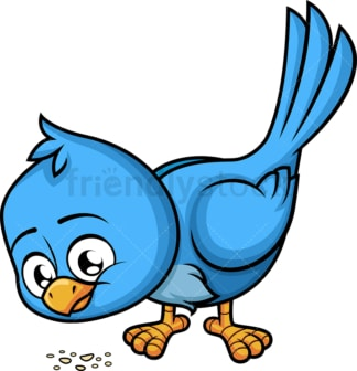 Blue bird eating bread crumbs. PNG - JPG and vector EPS (infinitely scalable). Image isolated on transparent background.