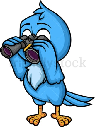 Blue bird holding binoculars. PNG - JPG and vector EPS (infinitely scalable). Image isolated on transparent background.