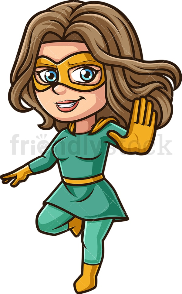 Female superhero stop gesture. PNG - JPG and vector EPS (infinitely scalable).