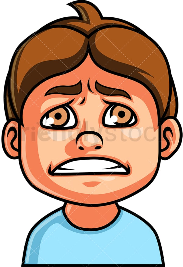 Little boy scared face. PNG - JPG and vector EPS file formats (infinitely scalable). Image isolated on transparent background.
