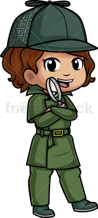 Little girl detective. PNG - JPG and vector EPS (infinitely scalable).
