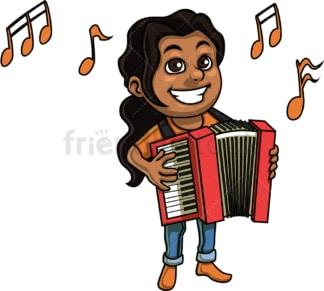 Kid girl playing accordion. PNG - JPG and vector EPS. Isolated on transparent background.