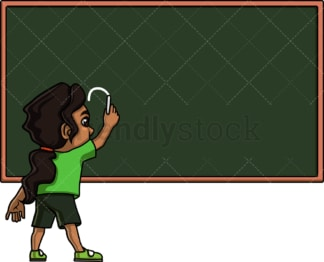 Little girl writing on chalkboard. PNG - JPG and vector EPS. Isolated on transparent background.
