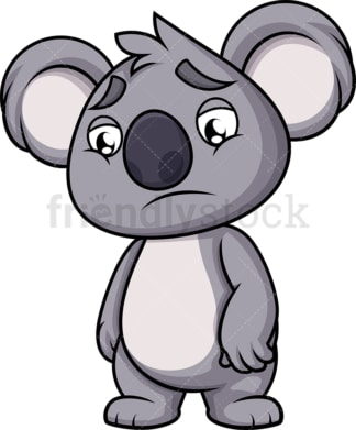 Sad koala. PNG - JPG and vector EPS (infinitely scalable). Image isolated on transparent background.