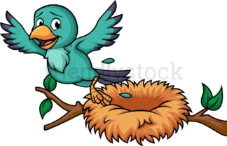 Bird leaving its nest. PNG - JPG and vector EPS file formats (infinitely scalable). Image isolated on transparent background.