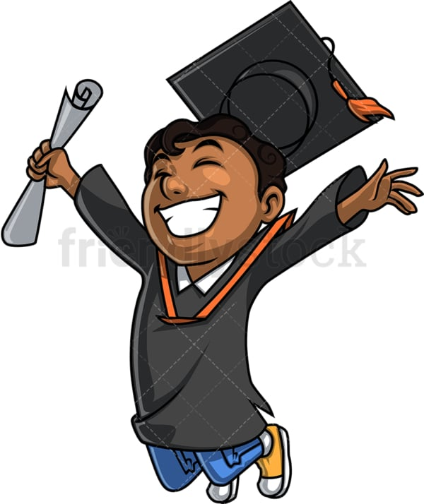Black male graduate. PNG - JPG and vector EPS. Isolated on transparent background.