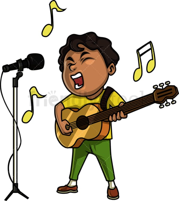 Black boy guitarist singing. PNG - JPG and vector EPS. Isolated on transparent background.