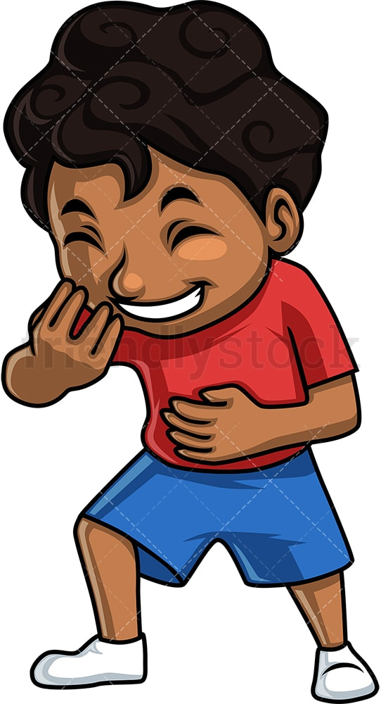 Black boy laughing. PNG - JPG and vector EPS. Isolated on transparent background.