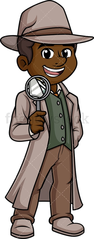 Black male detective. PNG - JPG and vector EPS (infinitely scalable).