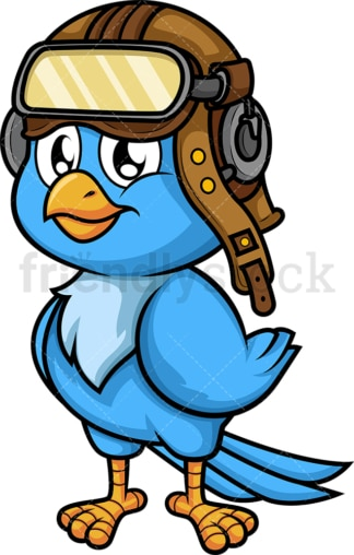 Blue bird pilot. PNG - JPG and vector EPS (infinitely scalable). Image isolated on transparent background.
