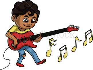 Black kid playing electric guitar. PNG - JPG and vector EPS. Isolated on transparent background.