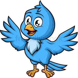 Happy blue bird. PNG - JPG and vector EPS (infinitely scalable). Image isolated on transparent background.