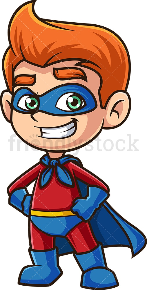 Cheerful child in superhero costume. PNG - JPG and vector EPS (infinitely scalable).