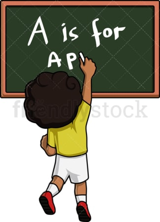 Kid writing on blackboard. PNG - JPG and vector EPS. Isolated on transparent background.