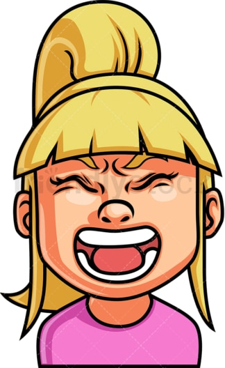 Little girl screaming face. PNG - JPG and vector EPS file formats (infinitely scalable). Image isolated on transparent background.