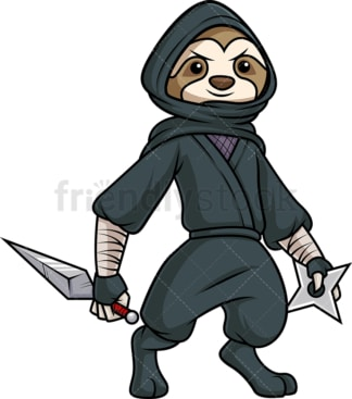 Ninja sloth. PNG - JPG and vector EPS (infinitely scalable).