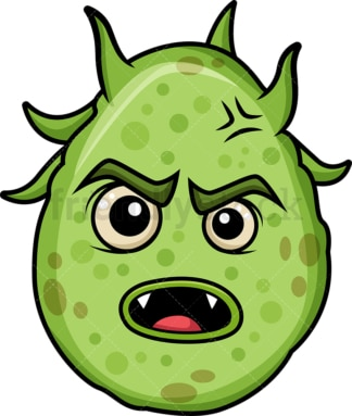 Angry green germ. PNG - JPG and vector EPS (infinitely scalable).