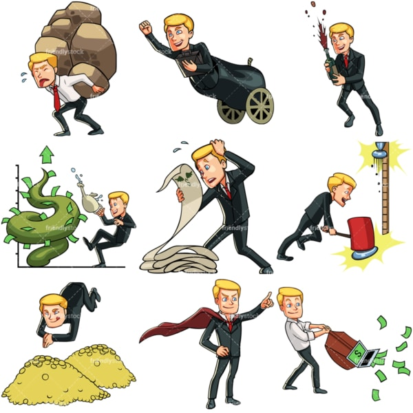 9 business & money themed images of a young businessman. PNG - JPG and vector EPS file formats (infinitely scalable). Images isolated on transparent background.