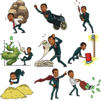 9 business-money themed vector images of a black businessman. PNG - JPG and vector EPS file formats (infinitely scalable). Images isolated on transparent background.