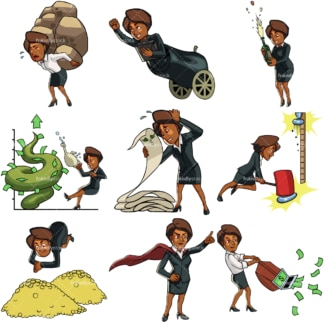 9 business themed vector graphics of a black businesswoman. PNG - JPG and vector EPS file formats (infinitely scalable). Images isolated on transparent background.