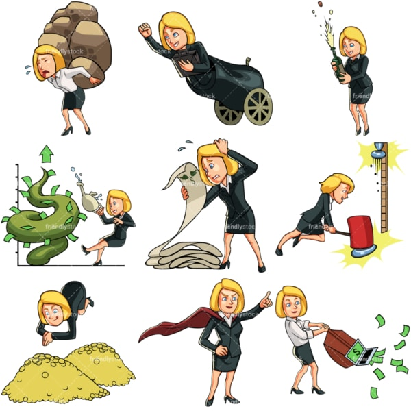 9 business themed vector graphics of a businesswoman. PNG - JPG and vector EPS file formats (infinitely scalable). Images isolated on transparent background.