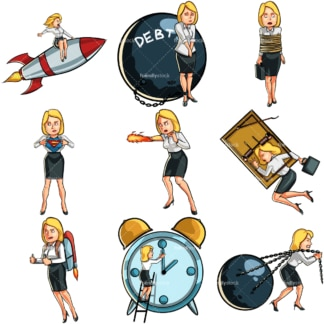 9 conceptual business cartoons of a businesswoman. PNG - JPG and vector EPS file formats (infinitely scalable). Images isolated on transparent background.