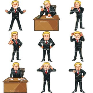 Angry businessman. PNG - JPG and vector EPS file formats (infinitely scalable). Images isolated on transparent background.
