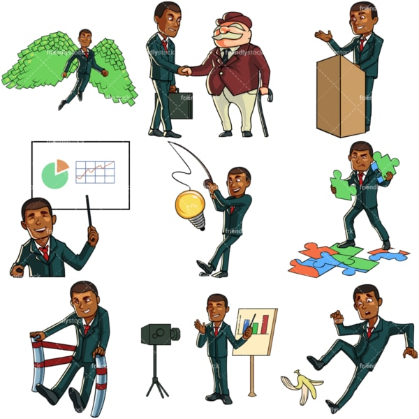 Black businessman bundle 3. PNG - JPG and vector EPS file formats (infinitely scalable). Images isolated on transparent background.