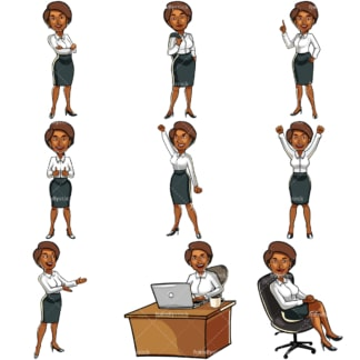 Black businesswoman cartoon collection. PNG - JPG and vector EPS file formats (infinitely scalable). Images isolated on transparent background.