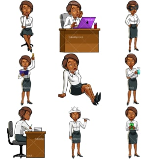 Black businesswoman feeling bored. PNG - JPG and vector EPS file formats (infinitely scalable). Images isolated on transparent background.