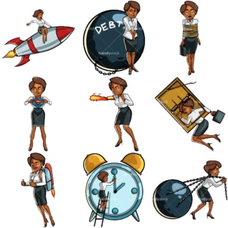Black female professional concepts. PNG - JPG and vector EPS file formats (infinitely scalable). Images isolated on transparent background.