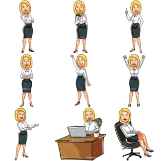 Blonde businesswoman cartoon bundle. PNG - JPG and vector EPS file formats (infinitely scalable). Images isolated on transparent background.