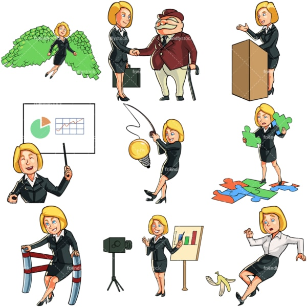 Blonde cartoon business woman. PNG - JPG and vector EPS file formats (infinitely scalable). Images isolated on transparent background.