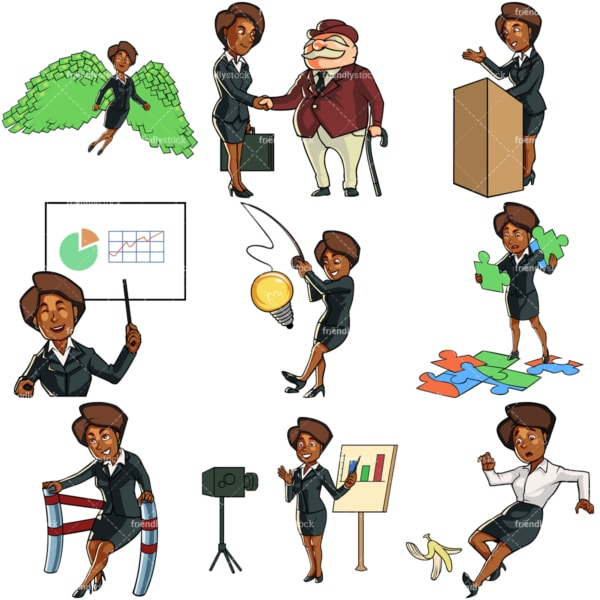 Business vector graphics of a black woman. PNG - JPG and vector EPS file formats (infinitely scalable). Images isolated on transparent background.