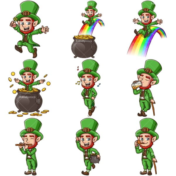 Cartoon leprechauns. PNG - JPG and vector EPS file formats (infinitely scalable). Image isolated on transparent background.