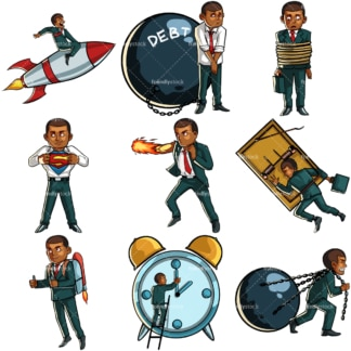 Conceptual illustrations of a black businessman. PNG - JPG and vector EPS file formats (infinitely scalable). Images isolated on transparent background.