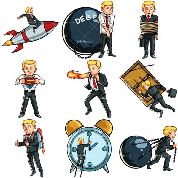 Conceptual poses businessman bundle. PNG - JPG and vector EPS file formats (infinitely scalable). Images isolated on transparent background.