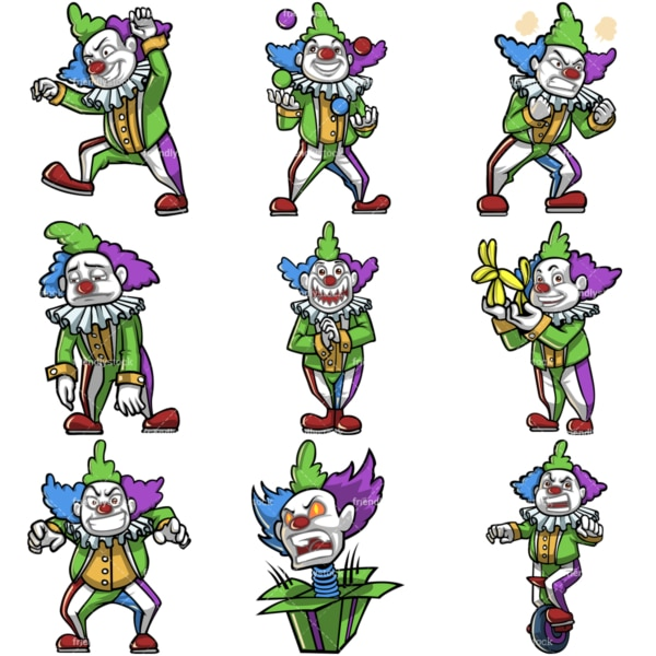 Creepy clown cartoon character. PNG - JPG and infinitely scalable vector EPS - on white or transparent background.