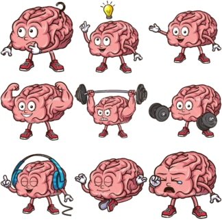 Cute brain cartoon character. PNG - JPG and infinitely scalable vector EPS - on white or transparent background.