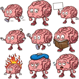 Cute brain mascot. PNG - JPG and infinitely scalable vector EPS - on white or transparent background.