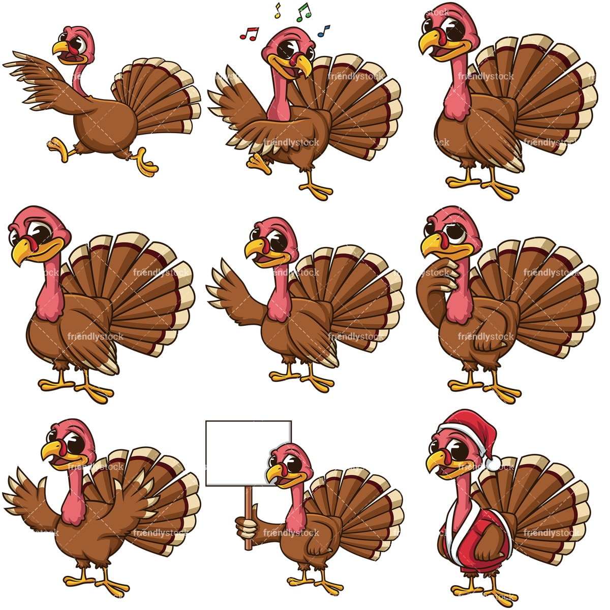 Cute Cartoon Turkeys Vector Clipart - FriendlyStock