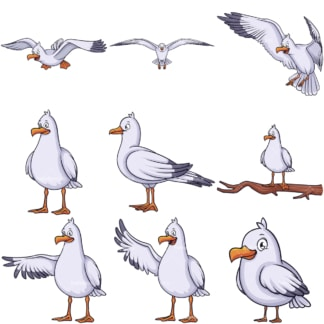 Cute seagulls. PNG - JPG and vector EPS file formats (infinitely scalable).