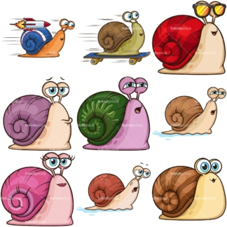 Cute snails. PNG - JPG and infinitely scalable vector EPS - on white or transparent background.
