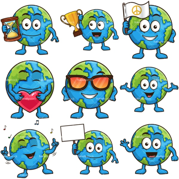 Earth cartoon character. PNG - JPG and infinitely scalable vector EPS - on white or transparent background.