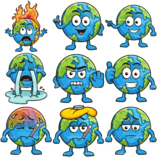 Earth mascot character. PNG - JPG and infinitely scalable vector EPS - on white or transparent background.