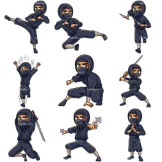 Japanese ninja. PNG - JPG and infinitely scalable vector EPS - on white or transparent background.