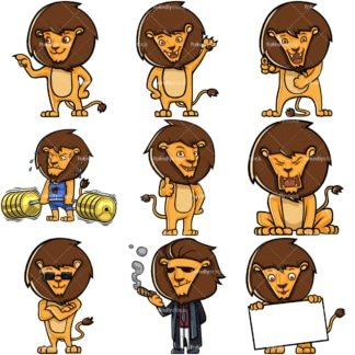 Leopold cute lion cartoon character. PNG - JPG and infinitely scalable vector EPS - on white or transparent background.