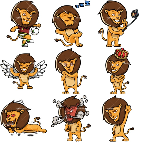 Cute lion cartoon character collection 3. PNG - JPG and infinitely scalable vector EPS - on white or transparent background.