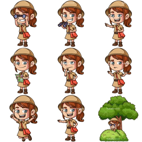 Little girl explorer. PNG - JPG and infinitely scalable vector EPS - on white or transparent background.
